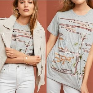 Anthropologie: Tiny embroidered tee